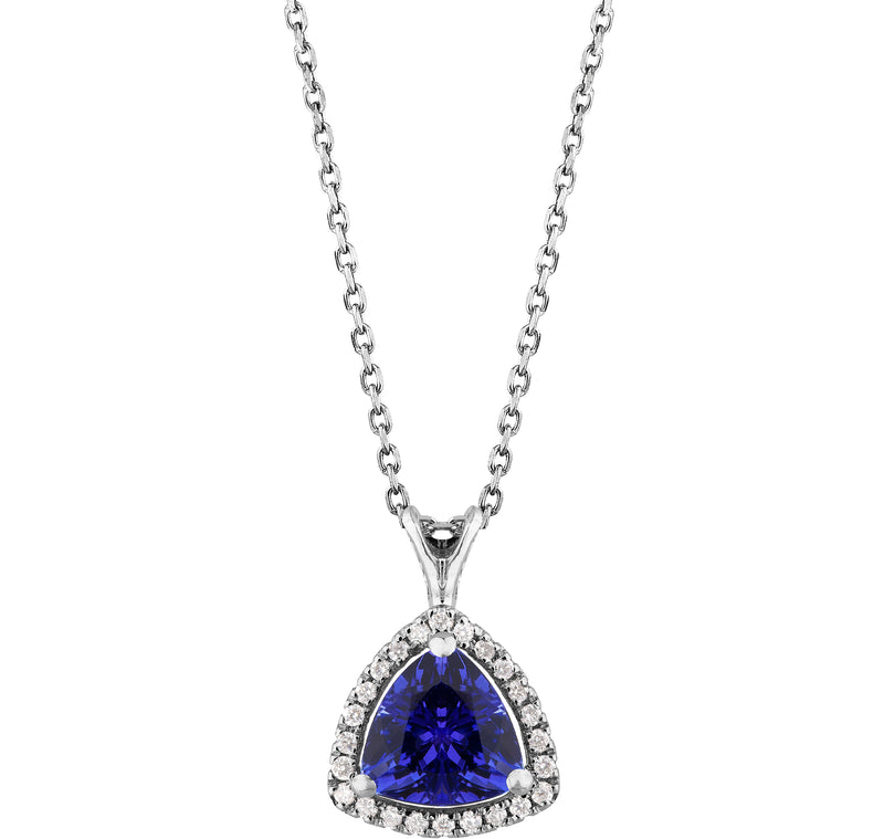 1.00ct Tanzanite & 0.12ct Diamond Trillion Pendant on chain in 14ct White gold