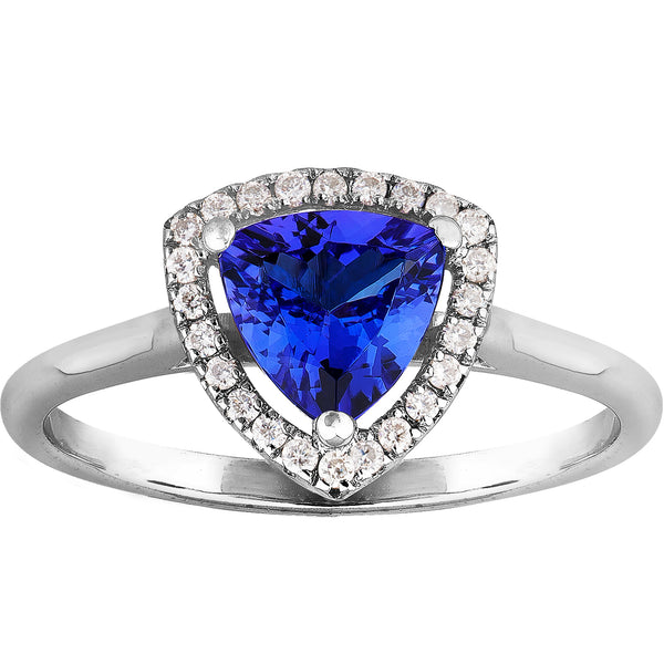 0.70ct Tanzanite & 0.09ct Diamond Trillion Ring in 14ct White Gold