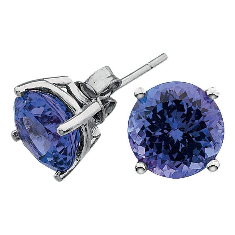 2.40ct Tanzanite Studs in 9ct White Gold Solitaire Studs