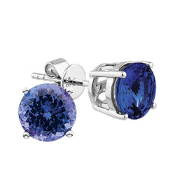 2.80ct Tanzanite Studs in 14ct White Gold Solitaire Studs