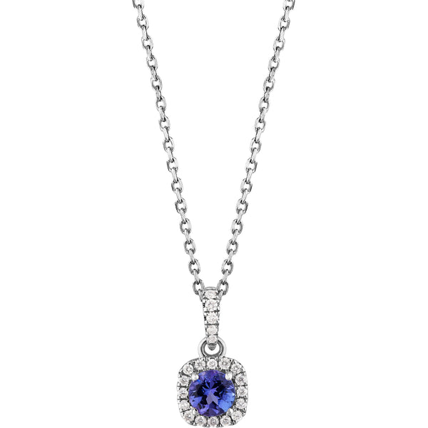 0.24ct Tanzanite & 0.09ct Diamond Halo Pendant in 14ct White gold