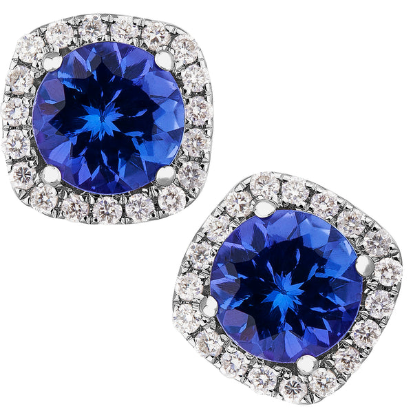 1.00ct Tanzanite & 0.15ct Diamond Studs in 14ct White Gold