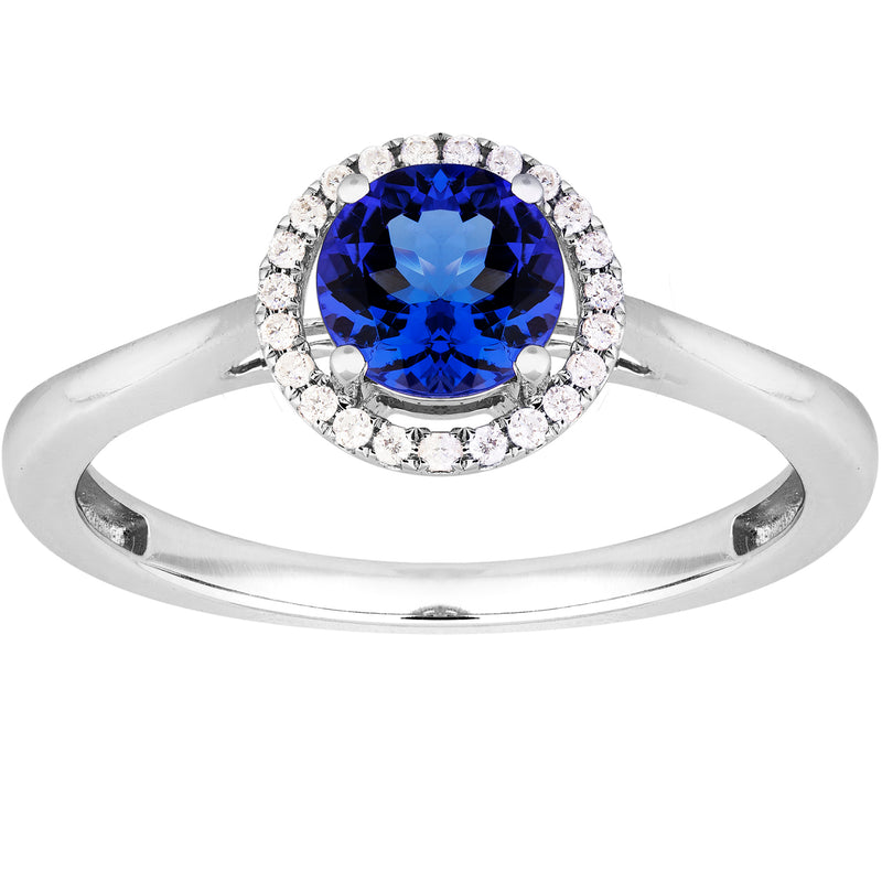 1.45ct Tanzanite Halo Ring in 9ct White Gold