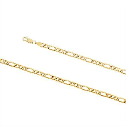 9ct Yellow Gold Air Solid 3+1 Figaro Necklace Figaro Chains