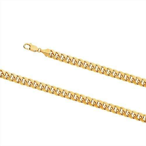 9ct Yellow Gold Oval Domed Curb Necklace Gents Chains