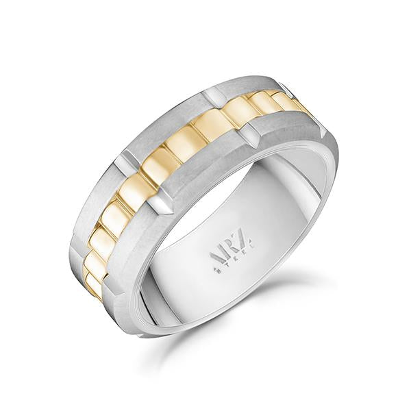 8mm Matte & Shiny Gold Two Tone Spinner Ring