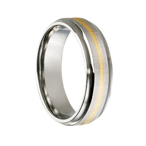 Titanium with 9ct Yellow Gold Inlay Wedding Ring - JDC Jewellers