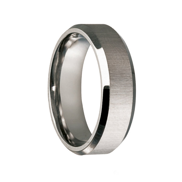 Titanium Matt Finish Beveled Edge Wedding Ring - JDC Jewellers