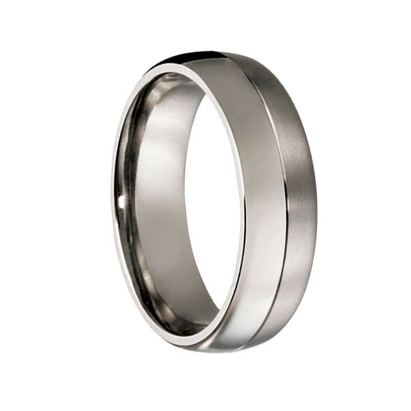 Titanium Light & Dark Finish Wedding Ring