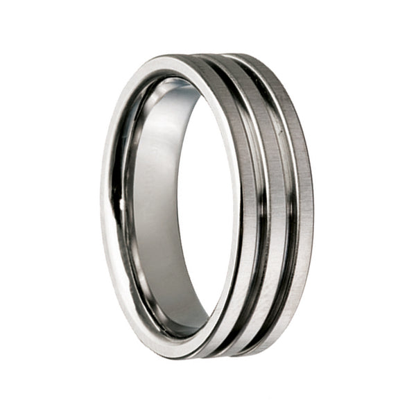Titanium Double Grooved Wedding Ring