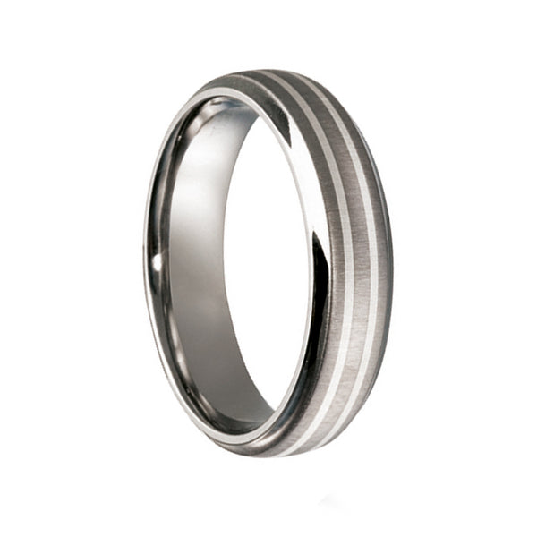 Titanium with Double Silver Inlay Wedding Ring