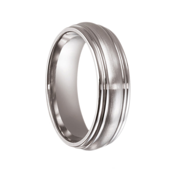 Titanium Half Round with Beveled Edges Wedding Ring - JDC Jewellers