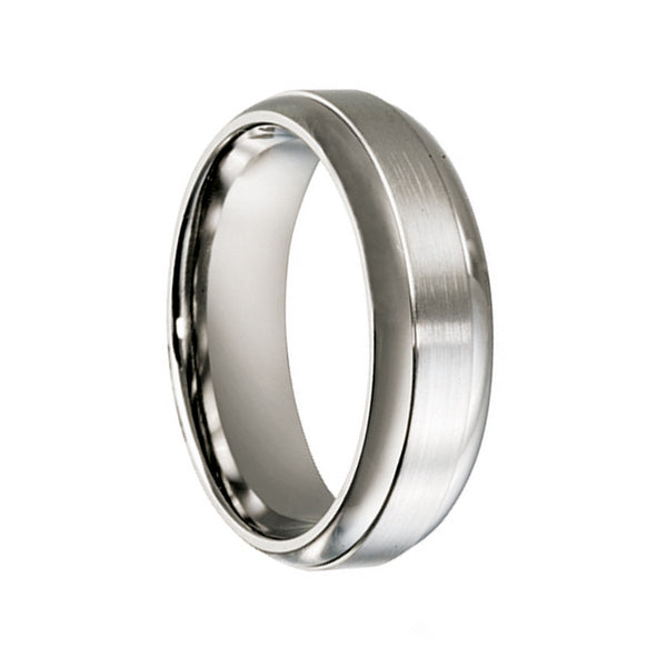 Titanium Brushed Centre & Polished Sides Wedding Ring