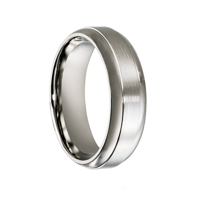 Titanium Half Round Beveled Edge Wedding Ring - JDC Jewellers