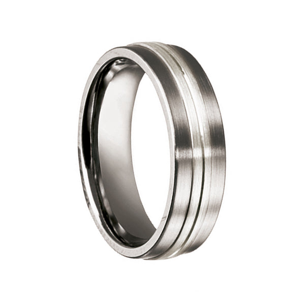 Titanium with Silver & Black Enamel Inlay Wedding Band