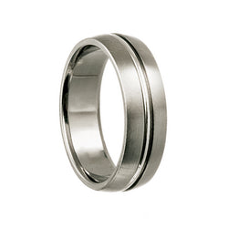 Titanium with Silver Center Line Inlay Wedding Band