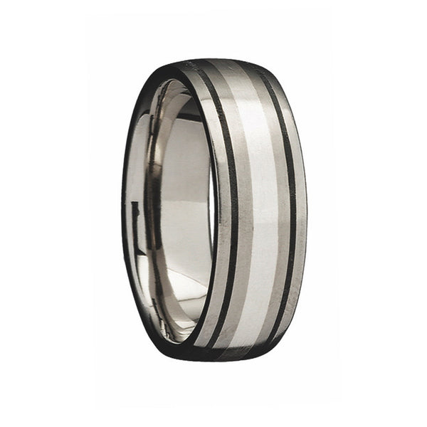 Titanium with Silver Inlay & Black Lines Wedding Ring