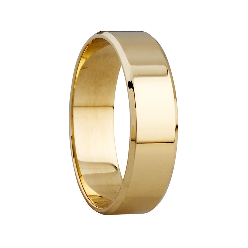 6mm Polished Beveled Edge Ring in 9ct Yellow Gold