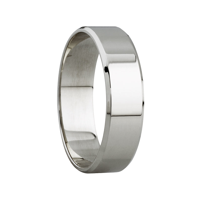5mm Polished Beveled Edge Ring in 9ct White Gold