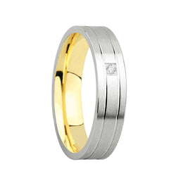 5mm Designer Wedding Band with Cubic Zirconia Stones in 9ct Mixed Gold