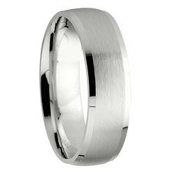 6mm Luxury Fit Designer Wedding Band in 9ct White Gold
