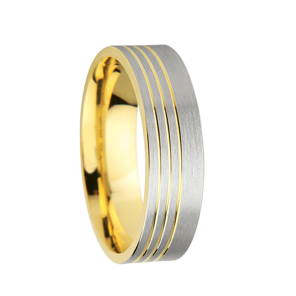 6mm Designer Wedding Band with Grooves in 9ct Mixed Gold