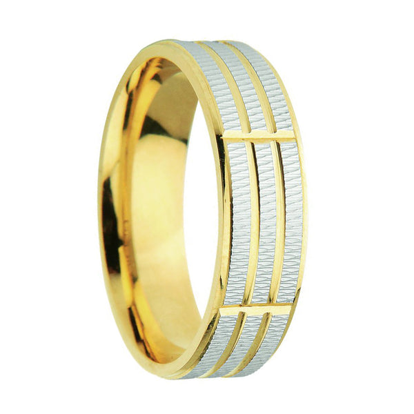 6mm Designer Wedding Band with Texture in 9ct Mixed Gold