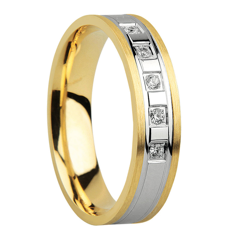 5mm Fancy Wedding Band with Cubic Zirconia Stones in 9ct Mixed Gold