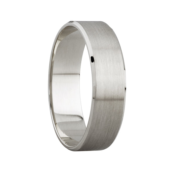 4mm Mens Satin Beveled Edge Ring in 9ct White Gold