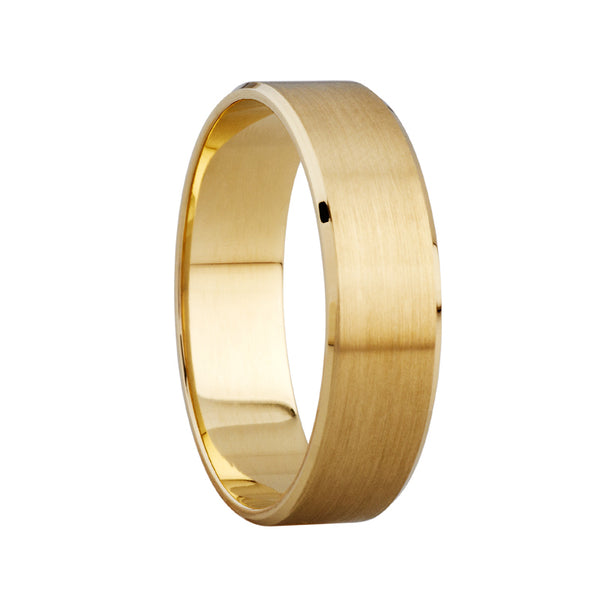 6mm Satin Beveled Edge Ring in 9ct Yellow Gold