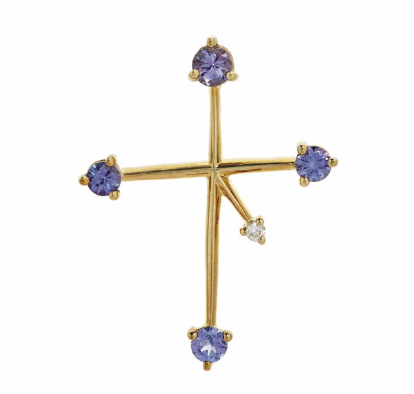 0.58ct Tanzanite & Diamond Southern Cross on Chain in 9ct Yellow Gold