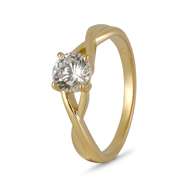 YES! Solitaire Twisted Shank CZ Ring in 9ct Yellow Gold
