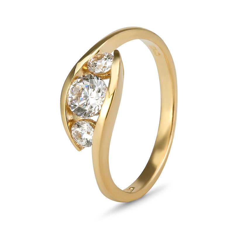 YES! Trilogy CZ Ring in 9ct Yellow Gold