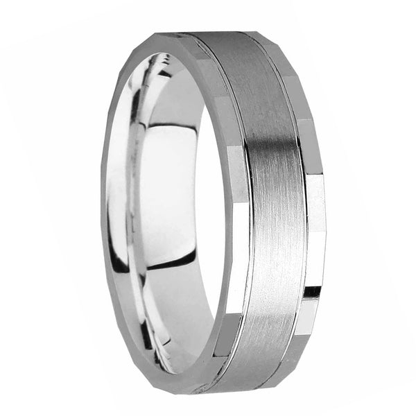 6mm Squared Designer Wedding Band in 9ct White Gold