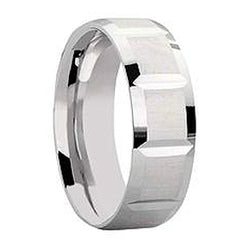 6mm Groove Track Designer Wedding Band in 9ct White Gold