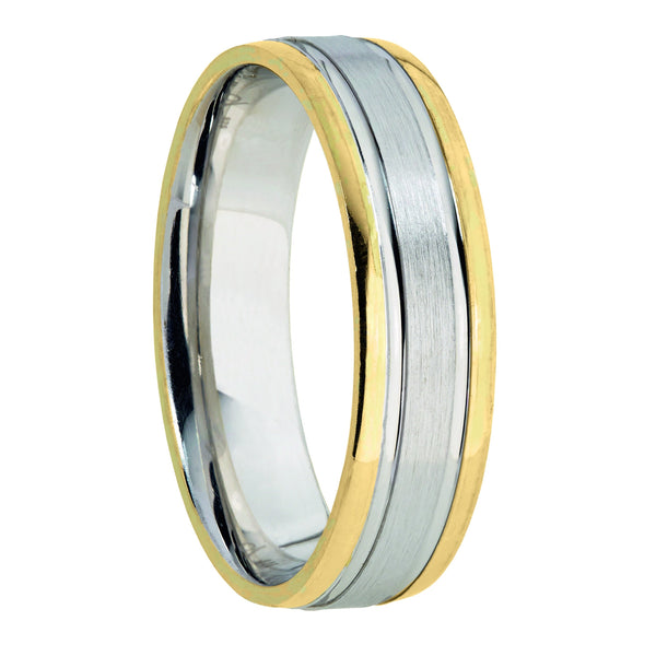 6mm Designer Wedding Band in 9ct Mixed Gold