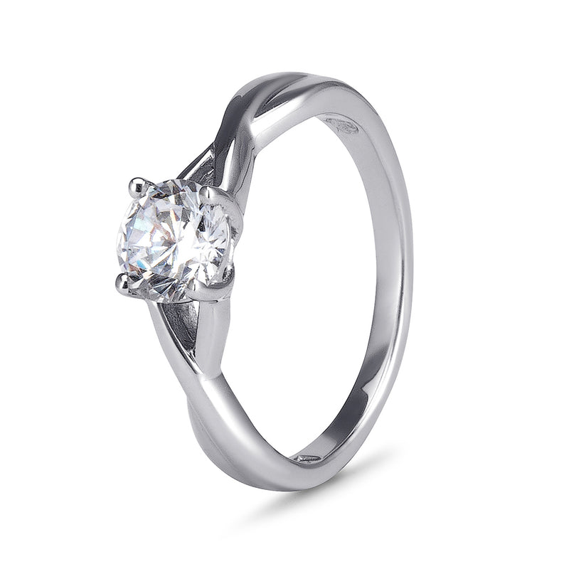YES! Solitaire Twisted Shank CZ Ring in 9ct White Gold