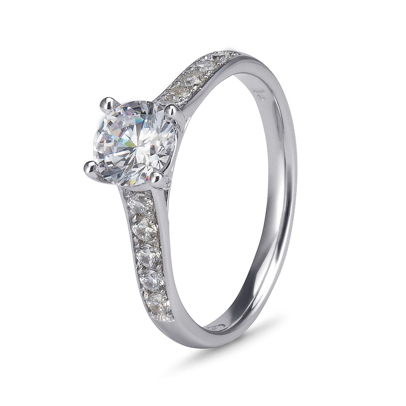 YES! Solitaire & Pavé CZ Ring in 9ct White Gold