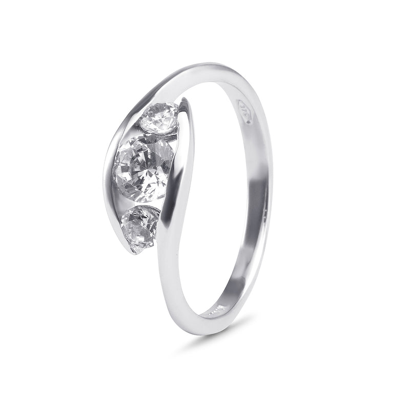 YES! Trilogy CZ Ring in 9ct White Gold