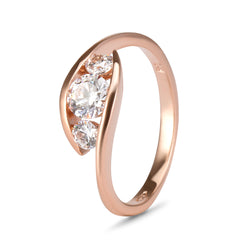 YES! Trilogy CZ Ring in 9ct Rose Gold