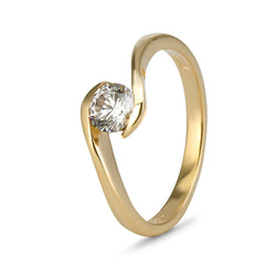 YES! Solitaire Twist CZ Ring in 9ct Yellow Gold