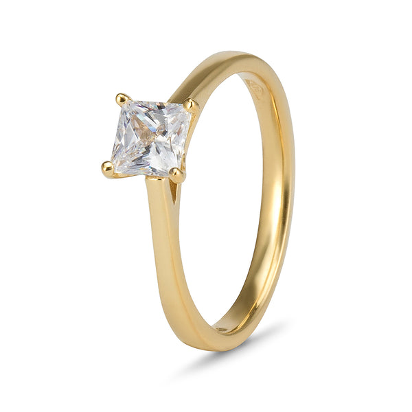 YES! Solitaire Princess Cut CZ Ring in 9ct Yellow Gold