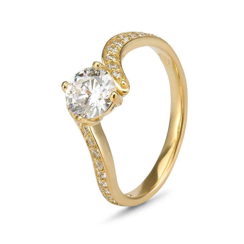 YES! Solitaire & Pavé Bypass CZ Ring in 9ct Yellow Gold