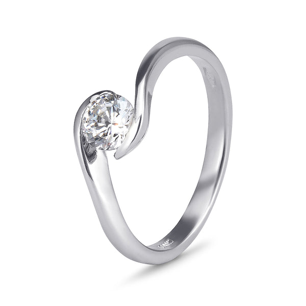 YES! Solitaire Twist CZ Ring in 9ct White Gold