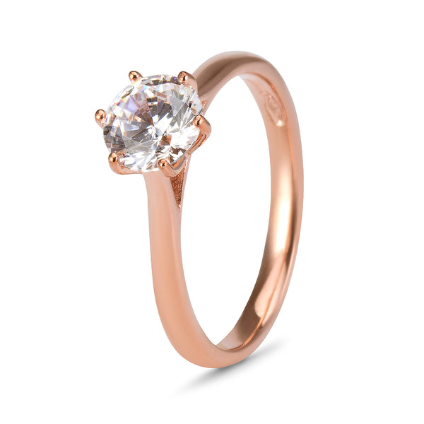 YES! Solitaire 6 Claw CZ Ring in 9ct Rose Gold