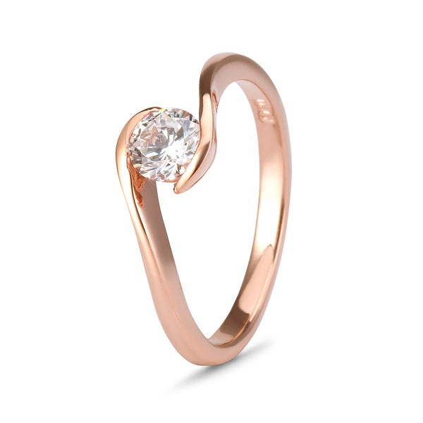YES! Solitaire Twist CZ Ring in 9ct Rose Gold
