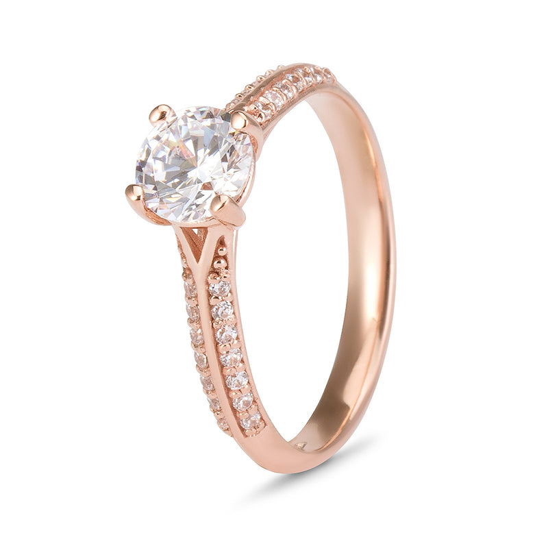 YES! Solitaire & Pavé Shoulder CZ Ring in 9ct Rose Gold