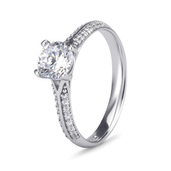 YES! Solitaire & Pavé Shoulder CZ Ring in 9ct White Gold