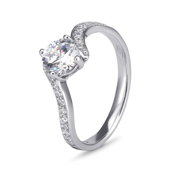 YES! Solitaire & Pavé Bypass CZ Ring in 9ct White Gold