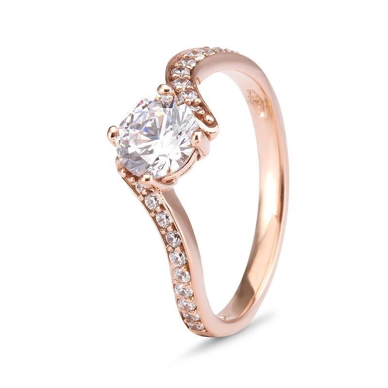 YES! Solitaire & Pavé Bypass CZ Ring in 9ct Rose Gold